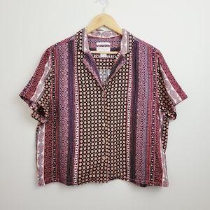 Rachel Zoe | Mixed Print Linen Button Front Shirt